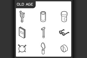 Old age outline isometric icons