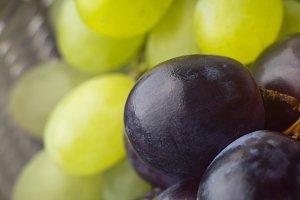 Grapes in a basket. Macro