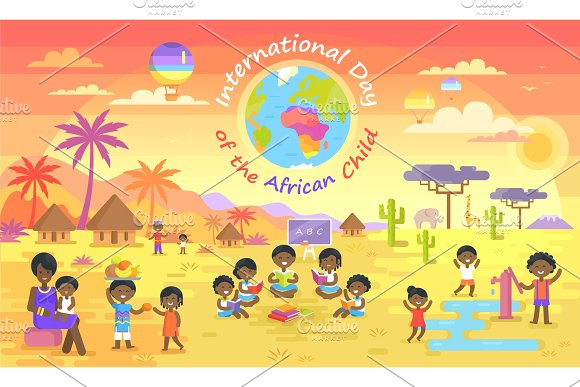 International Day Of African Child On Color Poster