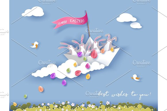 Happy Easter Card With Bunny Flowers And Egg
