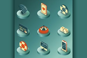 Online casino color isometric icons
