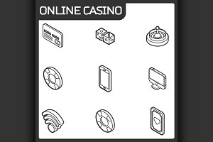 Online casino outline isometric icon