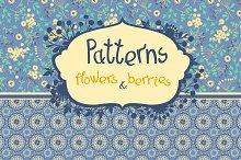 Seamless pattern - flowers & berries