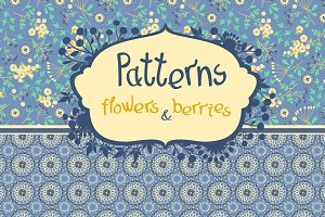 Seamless pattern - flowers & berries