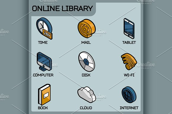 Online Library Outline Color Icons