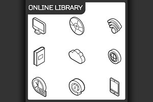 Online library outline icons