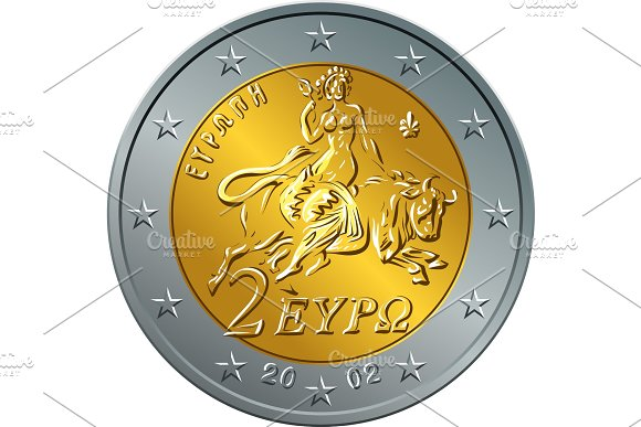 Greek Money Gold Coin Two Euro Featuring Europa