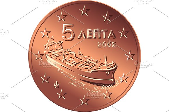 Vector Greek Money Bronze Coin Five Euro Cent