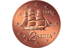 vector Greek money bronze coin two euro cent