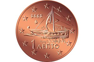 vector Greek money bronze coin one euro cent