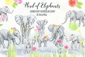 Watercolor Elephant Clipart