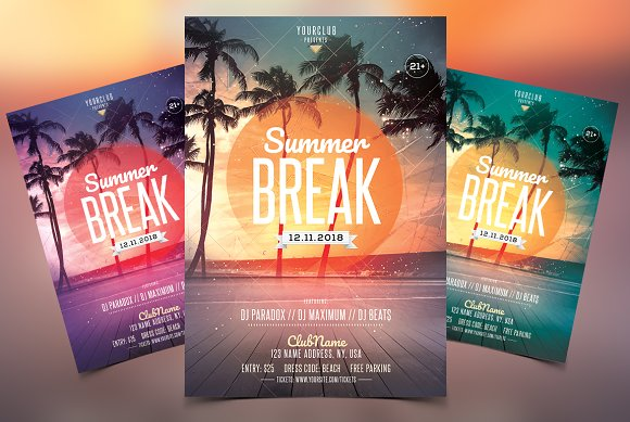 Summer Break PSD Flyer Template