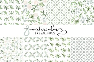 8 Seamless Watercolor Papers