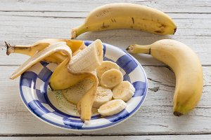 Set of bananas cut into slices