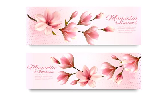 Nature Spring Banners With Flowers