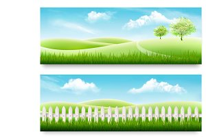 Two nature meadow banners with grass