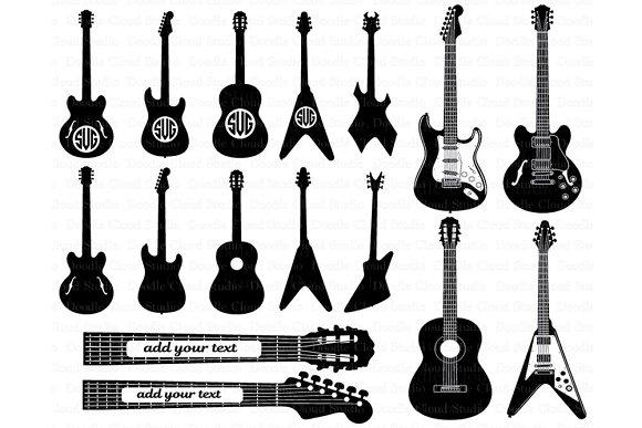 Guitar SVG, Guitar Monogram svg file