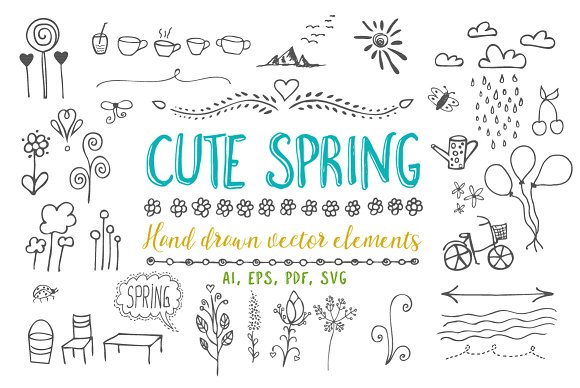 Cute Spring Vector Elements Part 1