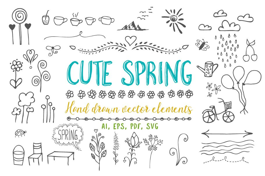 Cute spring vector elements part 1.