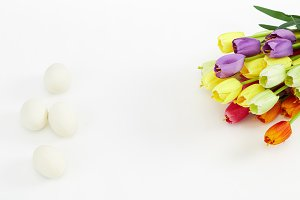 Easter Eggs in White With Colorful