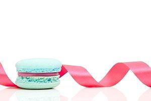 Valentine's blue macaron with pink r