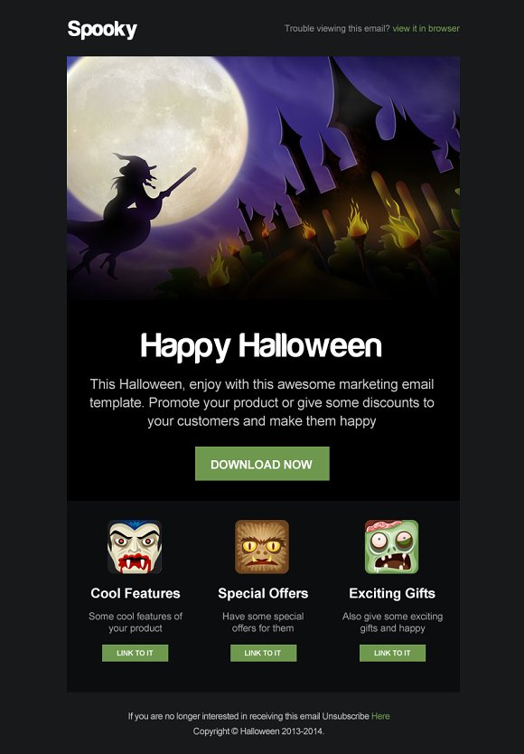 Spooky Halloween Email Template Email Templates Creative Market - Mailchimp email templates download