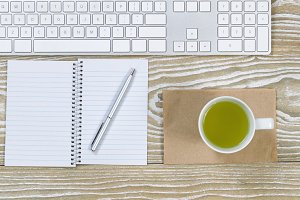 Basic Desktop items with green tea