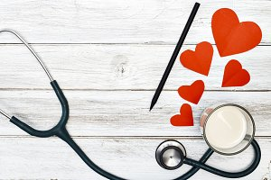 stethoscope and Love Red Paper