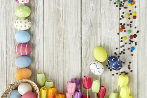 Easter festival with colorful easter