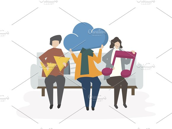 Illustration Of People With Icons