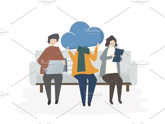 Illustration Of People Sharing Cloud