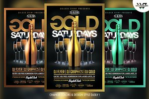 Gold Saturdays Flyer Template