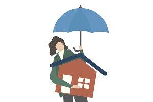 Illustration of home insurance