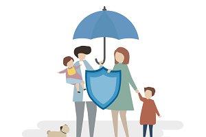 Illustration of family insurance