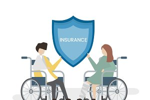 People with health insurance service