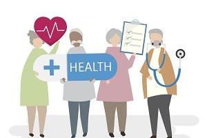 Illustration of healthy seniors
