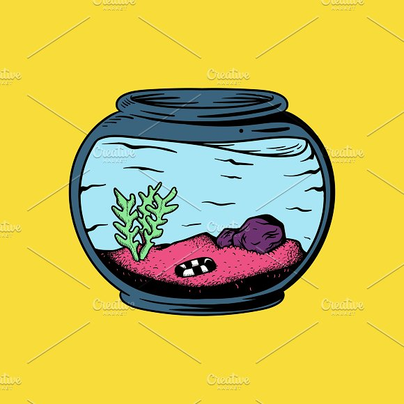 Empty Aquarium With Plants
