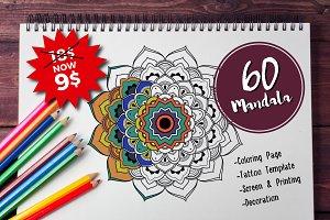 60 Mandala Tattoo & Coloring Page