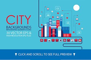 30 City background infographics set