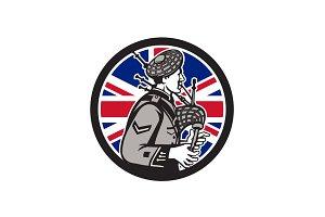 British Bagpiper Union Jack Flag Ico