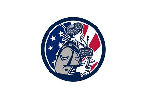 American Bagpiper USA Flag Icon
