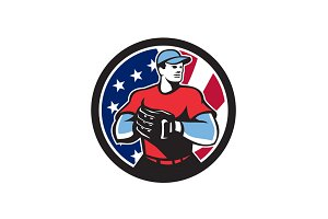 American Baseball Pitcher USA Flag I