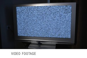 Tracking shot TV screen with noise