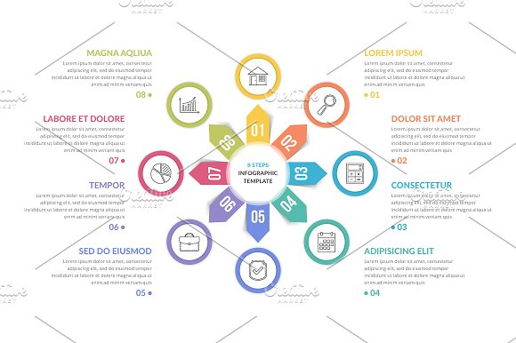 Circle Infographics With 8 Elements