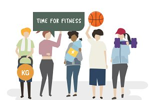 Illustration of time for fitness