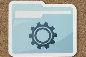 Paper cut out settings folder (PSD)