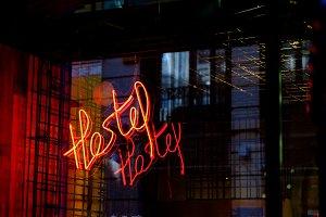 Hostel neon sign