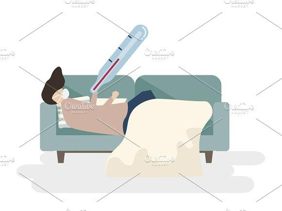 Illustration Of A Sick Man On A Sofa