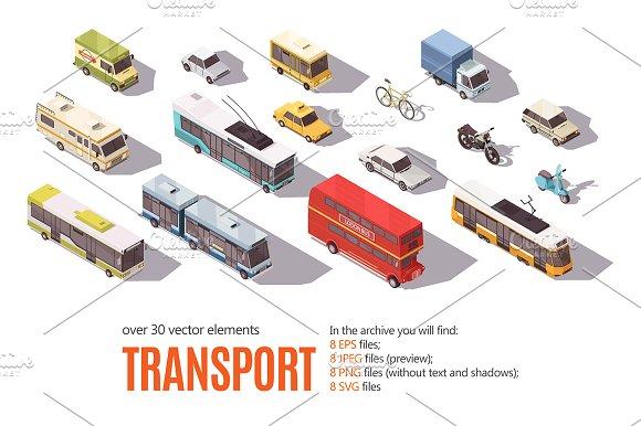 City Transport Isometric Set