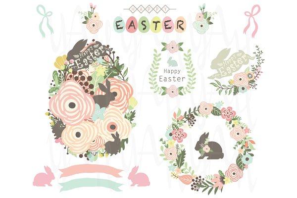 Floral Easter Egg Elements